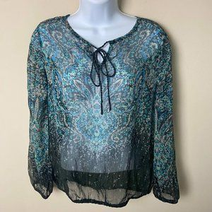 a.n.a A New Approach, Sheer Paisley Floral Long Sleeve Blouse, Petite Small